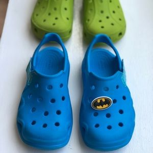2 pairs of Toddler boys size 11 crocs